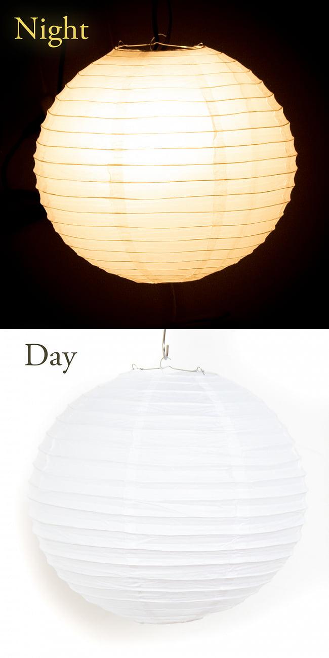 【15色展開】ベトナムのカラフル提灯・ランタン - 丸型 直径40cm 15 - 14:ホワイト