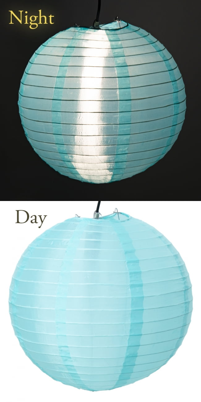 【15色展開】ベトナムのカラフル提灯・ランタン - 丸型 直径40cm 2 - 1:アクアブルー