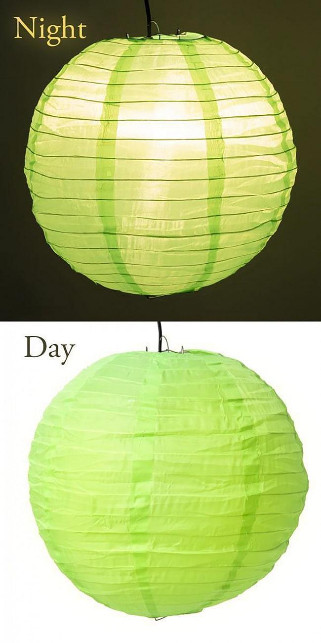 【15色展開】ベトナムのカラフル提灯・ランタン - 丸型 直径40cm 3 - 2:イエローグリーン
