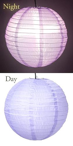 【15色展開】ベトナムのカラフル提灯・ランタン - 丸型 直径40cm 4 - 3:パープル