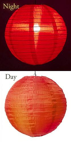 【15色展開】ベトナムのカラフル提灯・ランタン - 丸型 直径40cm 9 - 8:レッド