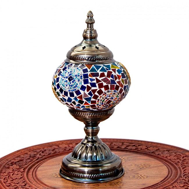 モザイクガラスのアラビアンランプ - 床置 2 - 全体写真です。【選択A】青系です