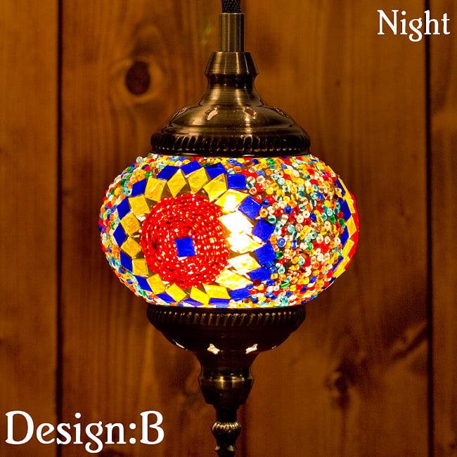 モザイクガラスのアラビアンランプ モザイクランプ - 吊り下げ型〔ソケット配線付属なしタイプ〕 18 - デザイン〔選択:B〕に、電球と灯らせてみたところです。*電球やソケットは付属いたしません。