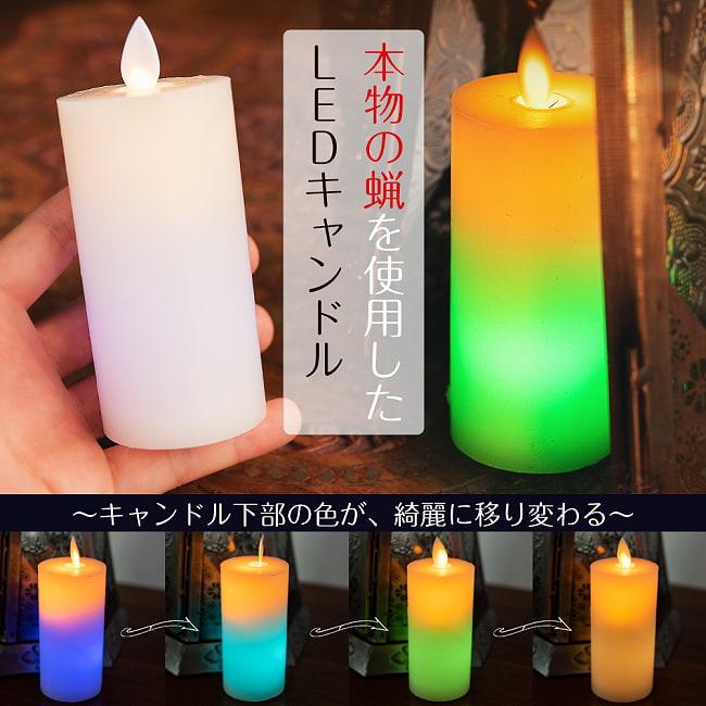 本物のロウで作られた ゆらめく灯火 ロウソク風LEDキャンドルライト レインボー〔5cm×10cm〕の写真