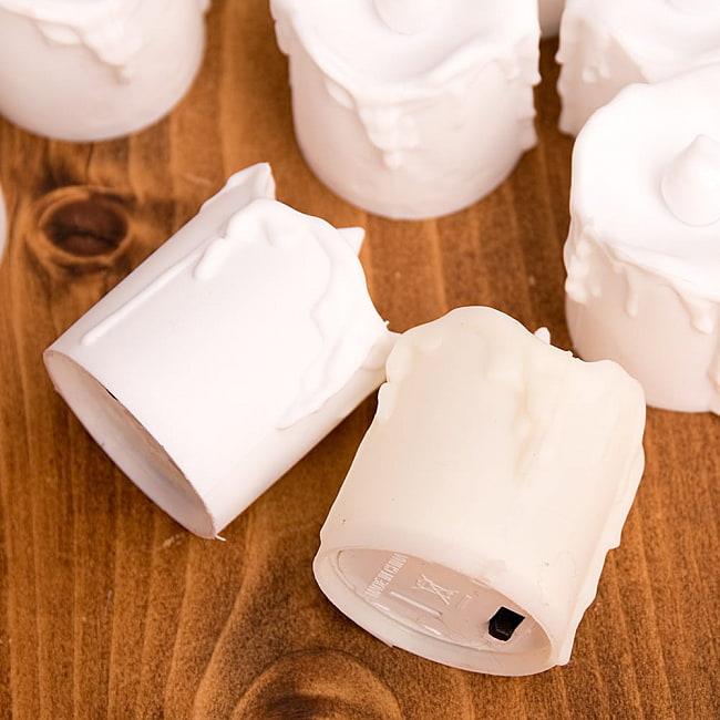 〔24個セット〕 ロウソク型LEDキャンドルライト〔4.7cm×4cm〕 4 - 色見本:(右)オフホワイト、(左)ホワイト
