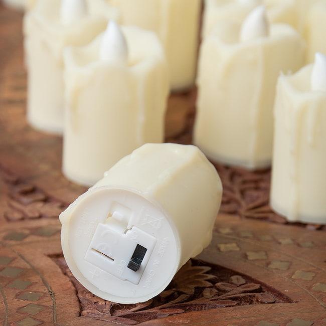 〔24個セット〕 ロウソク型LEDキャンドルライト〔4.7cm×4cm〕 5 - 電源ボタンは下部についています。