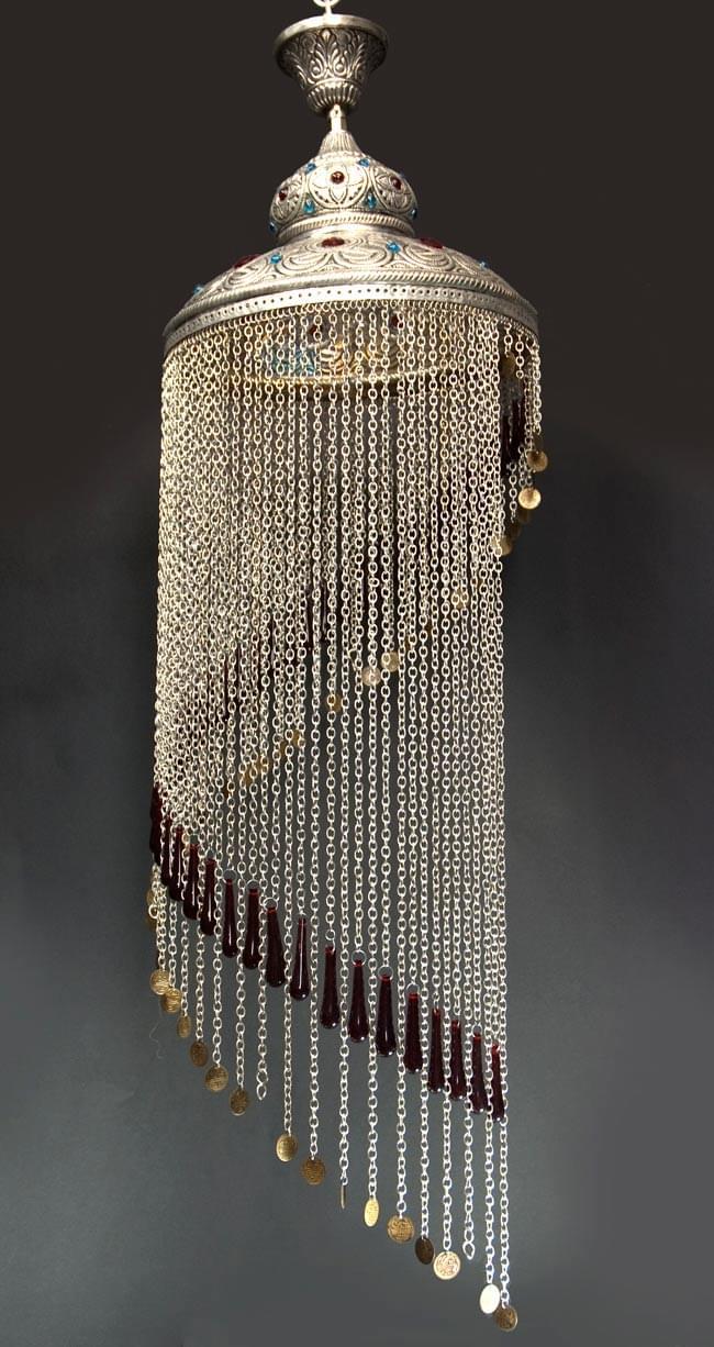 吊り下げタイプ - シャンデリア型ハーレムランプ【130cm】の写真3 - 明るくして、撮影しました。一番長いチェーンの下のコインはもともと付いていません