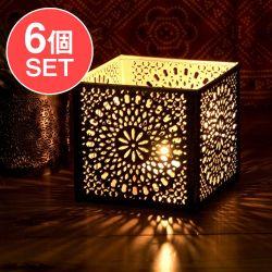 【6個セット】幾何学模様の透かし彫りが美しいマンダラランプ[四角 高さ:10.5cm]