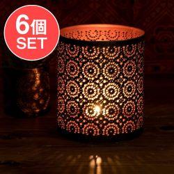 【6個セット】幾何学模様の透かし彫りが美しいマンダラランプ[円筒形  高さ:15cm]