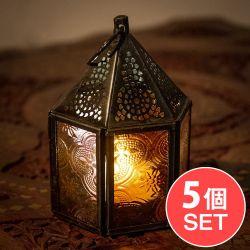 【5個セット】モロッコスタイルの透かし彫りLEDキャンドルランタン【ロウソク風LEDキャンドル付き】 - 【レッド】約11×8cm