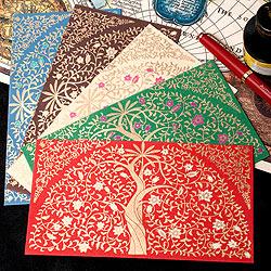 インドの封筒 - 木と唐草模様-RITI-(ID-LETTER-128)