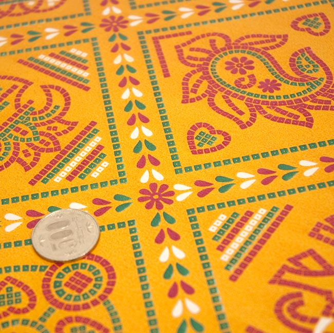 インド伝統のラッピング用紙 - 黄色(5枚セット) 2 -