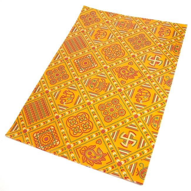 インド伝統のラッピング用紙 - 黄色(5枚セット)の写真