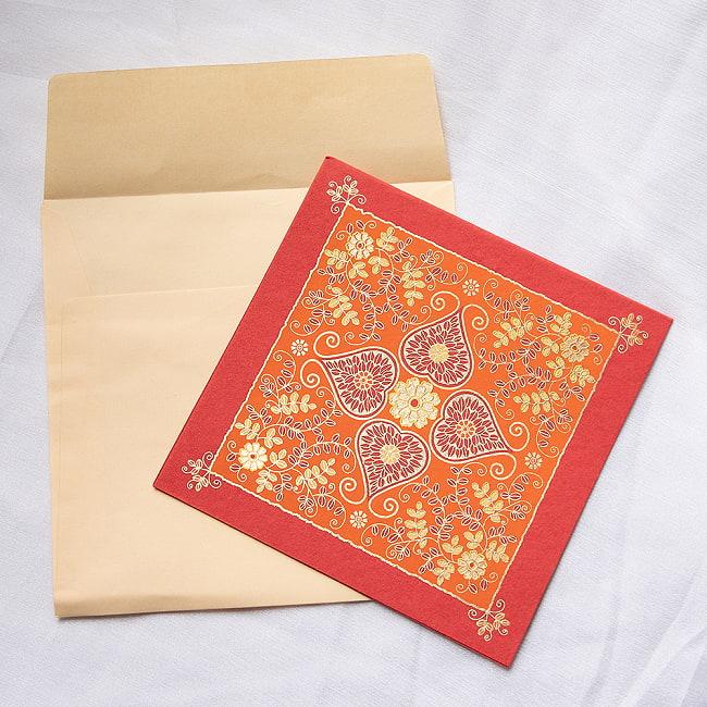 インドのメッセージカードセット - PALLAVI 4 - 封筒の中に入れてみたところです