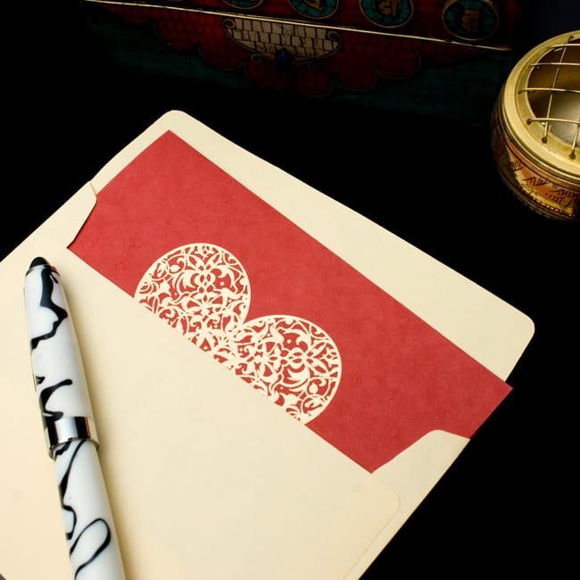 インドのメッセージカードセット - Bhavana(P) 4 - 封筒に入れてみました。