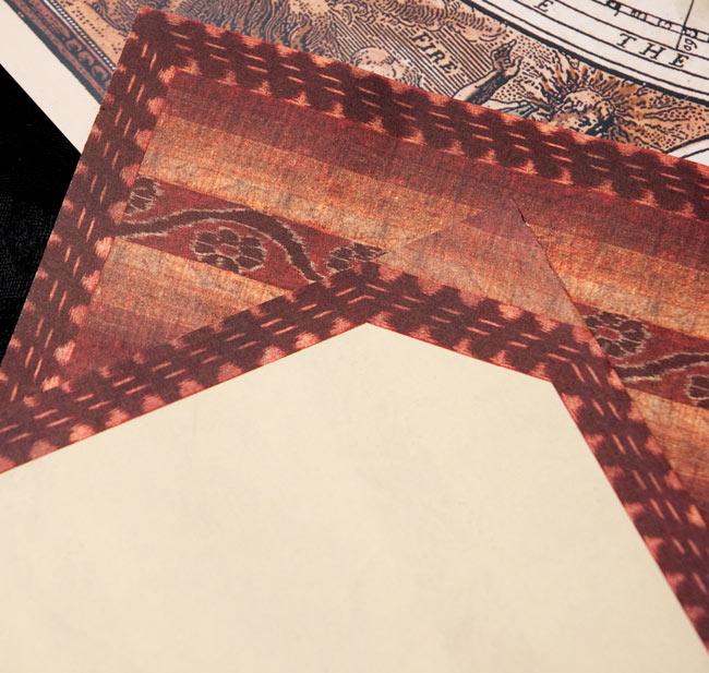 インドのレターセット - SAMEER 4 - 表面と裏面の拡大写真です。とても雰囲気があります。