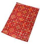 インド伝統のラッピング用紙 - 赤色(5枚セット)