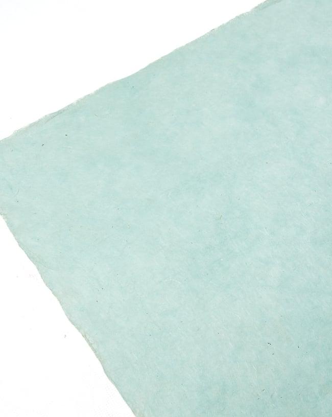 【75cmx50cm】ロクタ紙のラッピングペーパー3枚セット -ミント色・花柄 5 - 商品の裏面です、手漉き独特の素材感が楽しめます