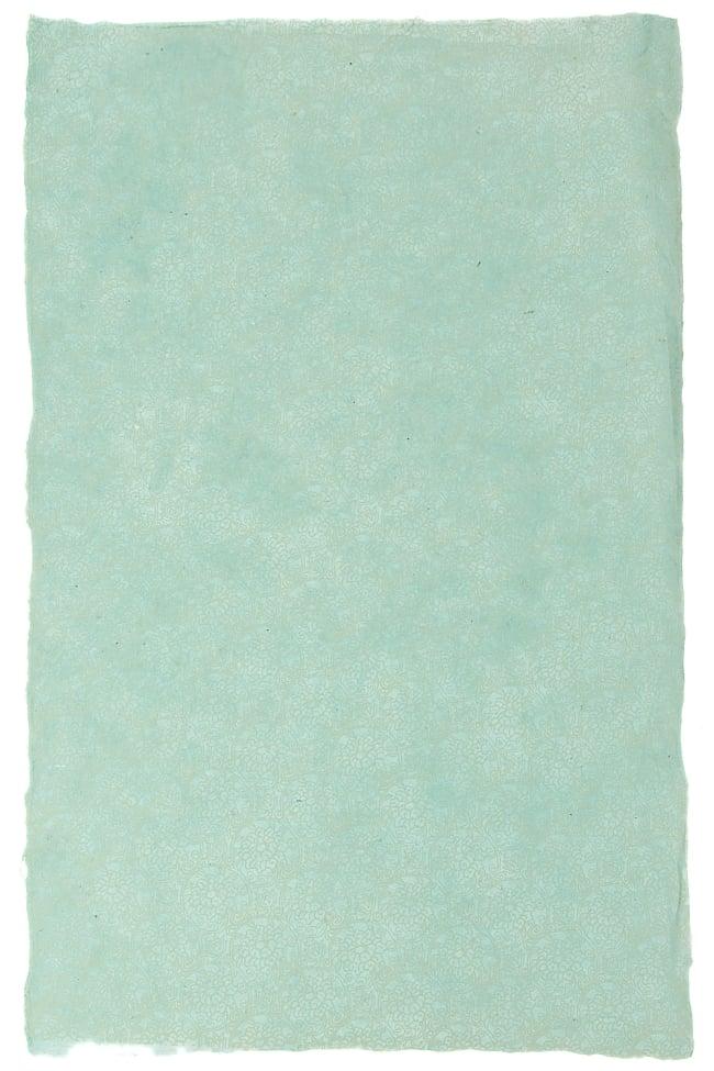 【75cmx50cm】ロクタ紙のラッピングペーパー3枚セット -ミント色・花柄の写真