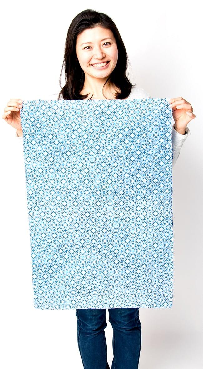 【75cmx50cm】ロクタ紙のラッピングペーパー3枚セット -青・デーヴァナーガリー文字 6 - おおよそのサイズは縦が75cm、横が50cmになります。それぞれ微妙に異なります。