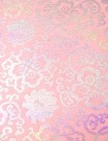 【75cmx50cm】ロクタ紙のラッピングペーパー3枚セット -ピンクと銀・牡丹と吉祥柄