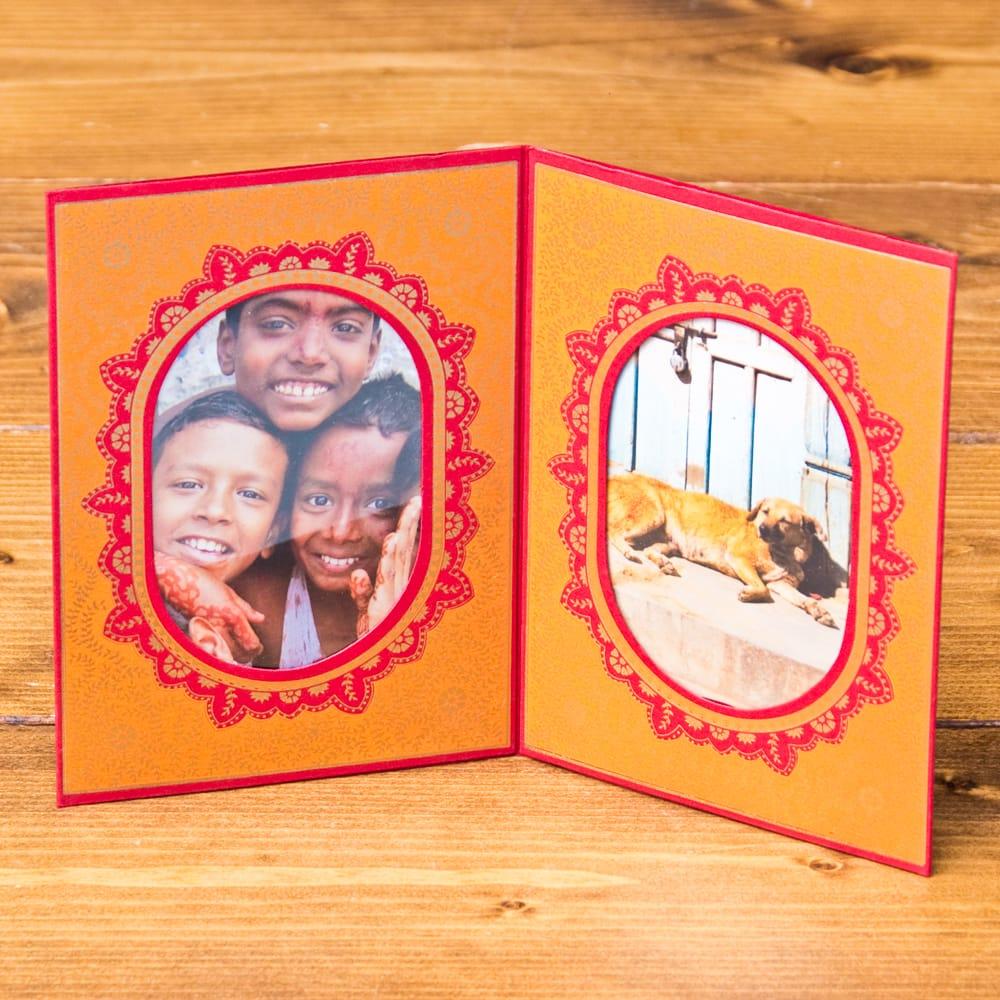 インドのフォトフレーム・ダブル【Chimanlals】レッド×オレンジ 6 - 大好きな写真が更に素敵になりますね^^