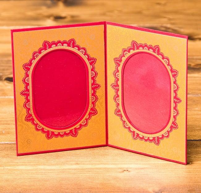 インドのフォトフレーム・ダブル【Chimanlals】レッド×オレンジの写真