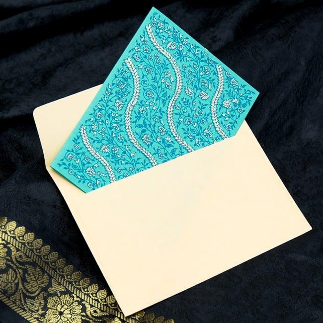 インドのメッセージカードセットSONALI 3 - 封筒との5枚組セットになっております。