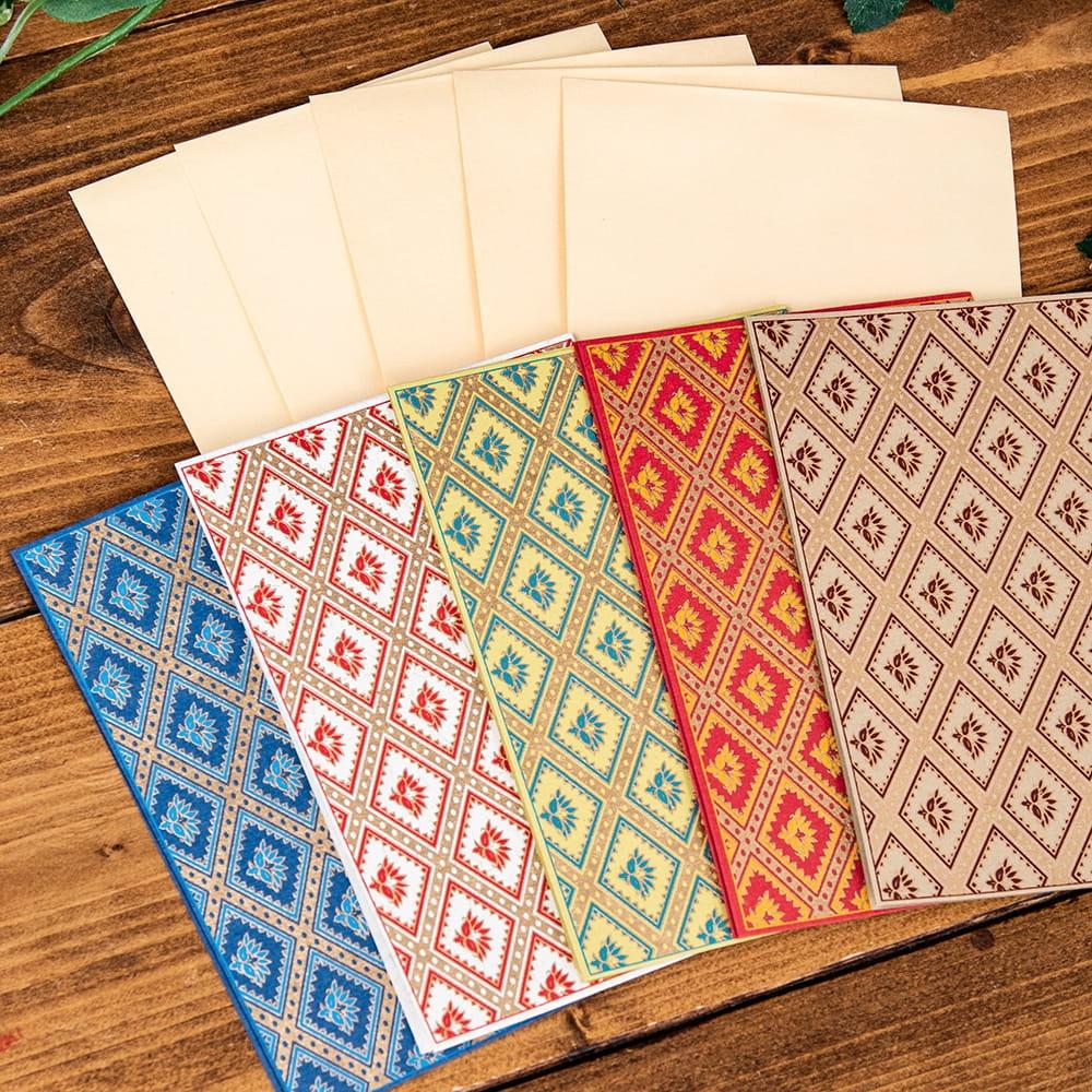 インドのメッセージカード&封筒5組セット - KARINDA 3 - 裏もとっても可愛いです!