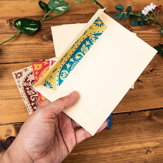 インドのメッセージカード&封筒5組セット - KARINDA 5 - 手にとってみました!使いやすいサイズですね