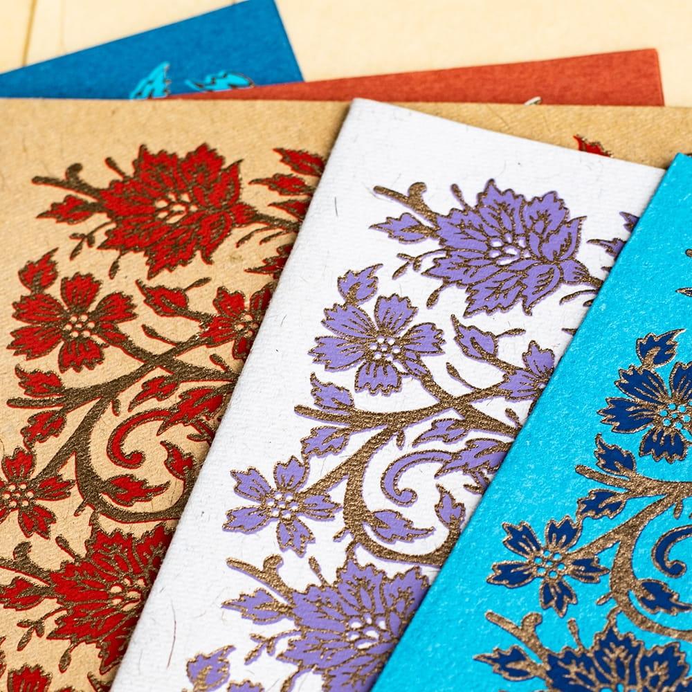 インドのメッセージカード&封筒5組セット - GULZAR 2 - 拡大してみました。繊細な金の模様が特徴で高級感のある仕上がりです。