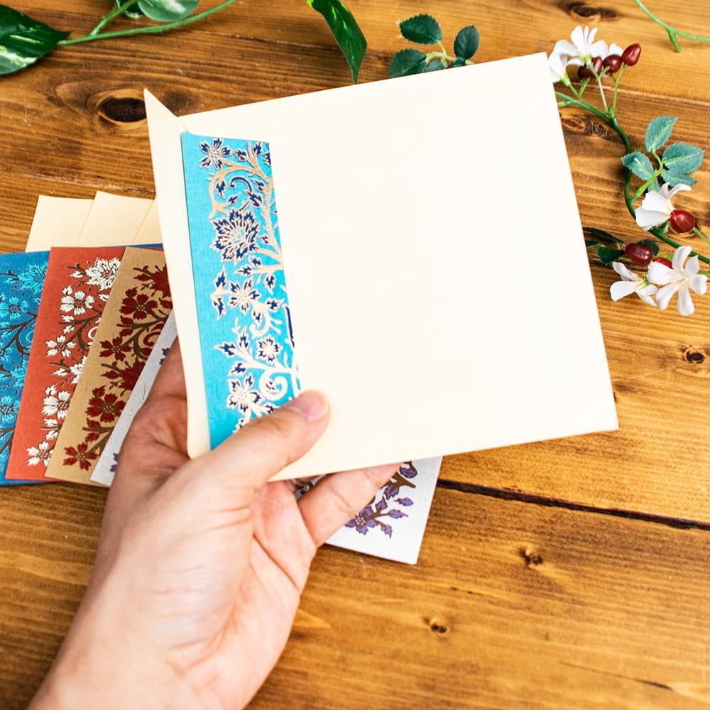 インドのメッセージカード&封筒5組セット - GULZAR 5 - 手にとってみました!使いやすいサイズですね