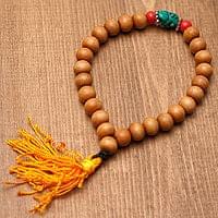 ネパールの数珠ブレスレット - 木製(茶)