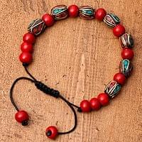 ネパールの数珠ブレスレット - レッドイミテーション