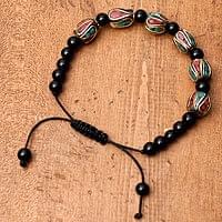 ネパールの数珠ブレスレット - ブラックオニキス