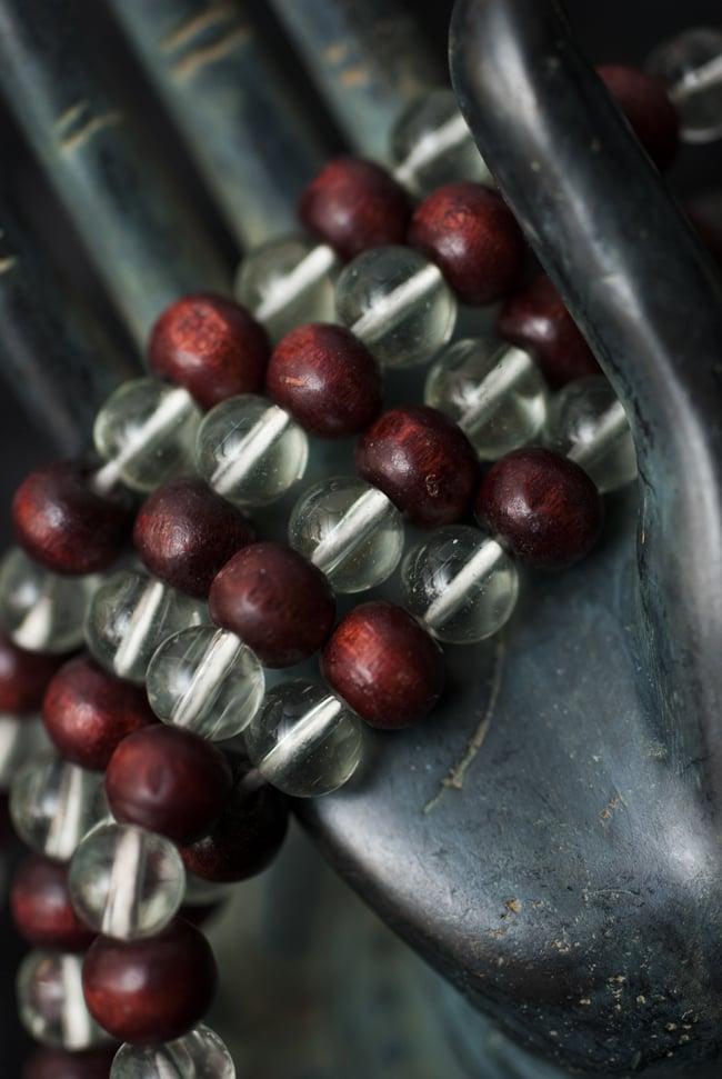 インドの数珠 - 水晶と紫光白檀 5 - 神々の住まう大陸を偲ばせる数珠です。
