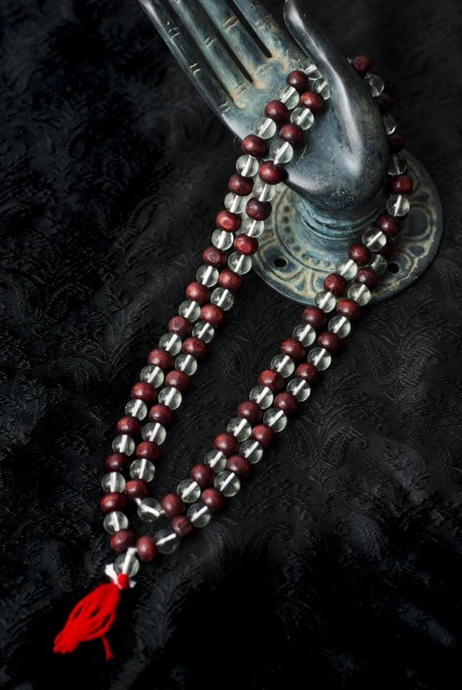 インドの数珠 - 水晶と紫光白檀の写真
