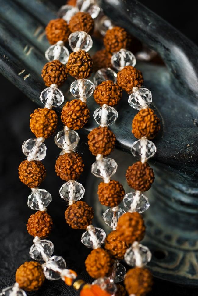 インドの数珠 - ルドラクシャとクリスタル 5 - 神々の住まう大陸を偲ばせる数珠です。
