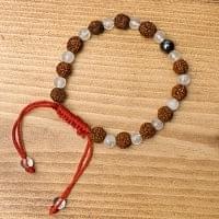 インドの数珠ブレスレット - ルドラクシャ・水晶