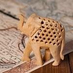 【一木造り】インド職人の手作り透かし彫り木像 ジャリ - エレファント