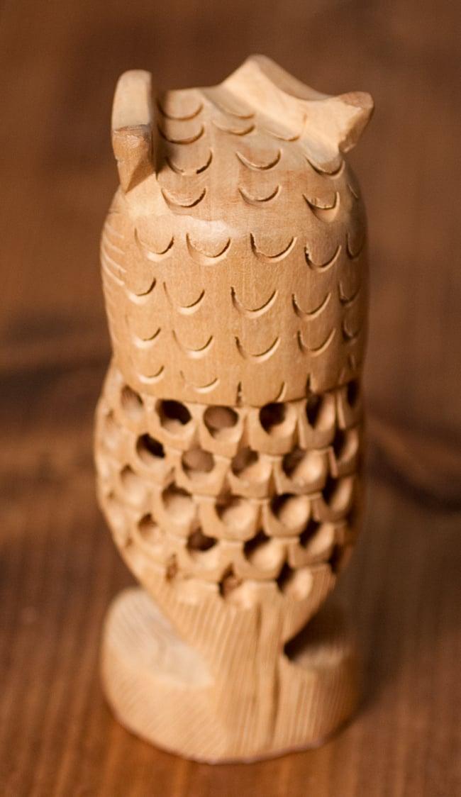 【一木造り】インド職人の手作り透かし彫り木像 ジャリ - フクロウ 5 - 後ろはこのようになっております