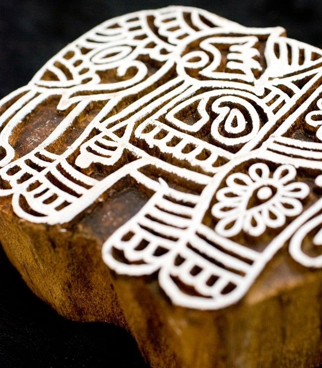 ウッドブロックスタンプ【象】約8×7.5cm 2 - 丁寧に彫り込まれています