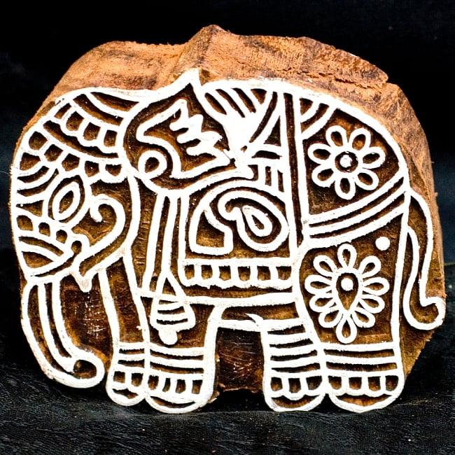 ウッドブロックスタンプ【象】約8×7.5cmの写真