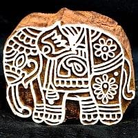 ウッドブロックスタンプ【象】約8×7.5cm