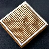 正方形模様のウッドブロックスタンプ -約5.5cmx5.5cm