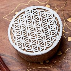 ウッドブロックスタンプ【幾何学・丸形】約6cm