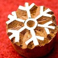 雪の結晶のウッドブロックスタンプ -直径約3cm