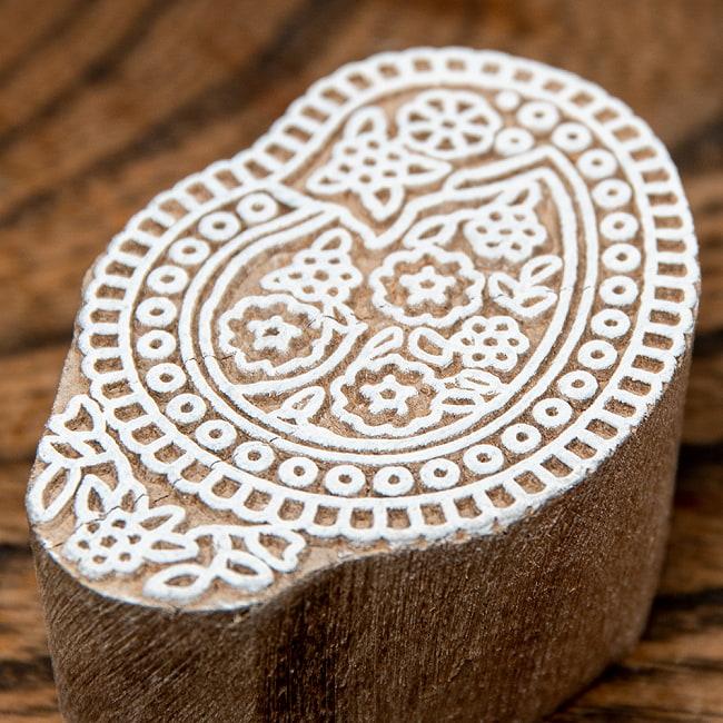 インド伝統の手彫りウッドブロックスタンプ5×3.5cm 2 - 彫り込まれています