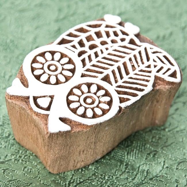 インド伝統の手彫りウッドブロックスタンプ5.5×4cm 2 - 彫り込まれています