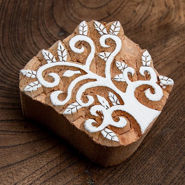 インド伝統の手彫りウッドブロックスタンプ5.5×6cm 2 - 彫り込まれています